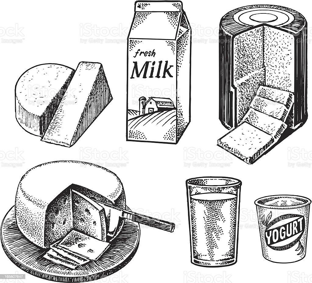 Dairy Items - Milk, Cheese, Yogurt vector art illustration