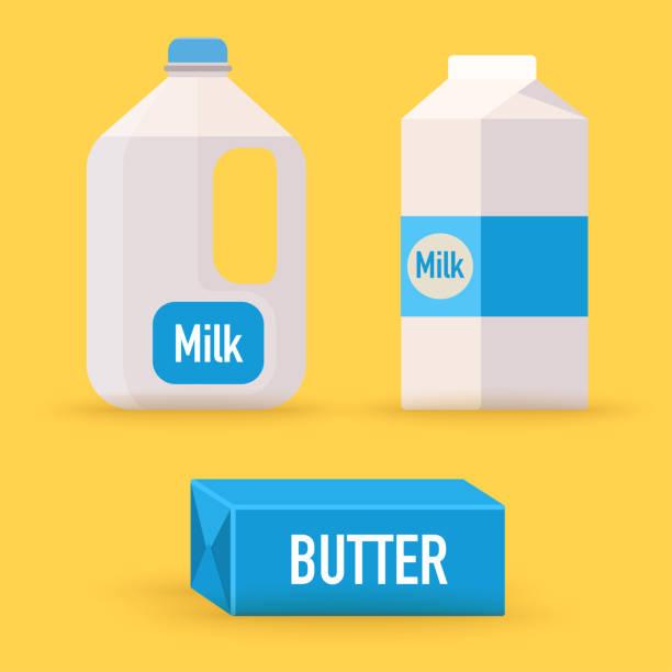 ilustrações de stock, clip art, desenhos animados e ícones de dairy, milk, butter. flat design modern vector illustration concept. - manteiga