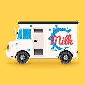 Dairy milk delivery service. Local delivery van.Flat design modern vector illustration concept.