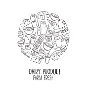Dairy product banner. Engraving yogurt, milk, cottage cheese and smoothies. Sketch butter, sour cream, camembert and whipped cream. Vector illustration. Retro style.