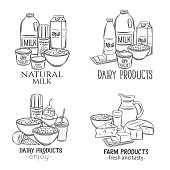 Hand drawn dairy product banners. Engraving yogurt, milk, cottage cheese and smoothies. Sketch butter, sour cream, camembert and whipped cream. Vector illustration. Retro style.