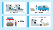 Dairy Production Manufacturing on Plant Landing Page Template Set. Factory Worker Characters at Conveyor Belt with Milk Packages. Beverages Manufacture, Delivery, Retail. Linear Vector Illustration