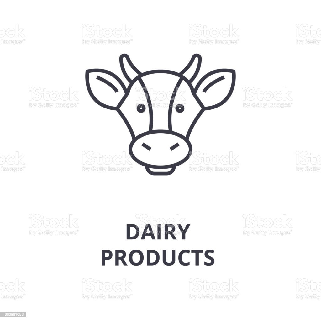 Dairy Products Cow Head Line Icon Outline Sign Linear Symbol Vector