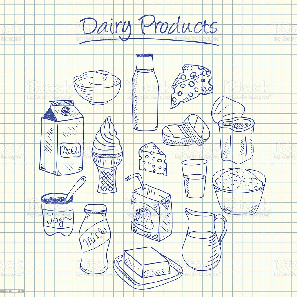 Dairy products doodles - squared paper vector art illustration