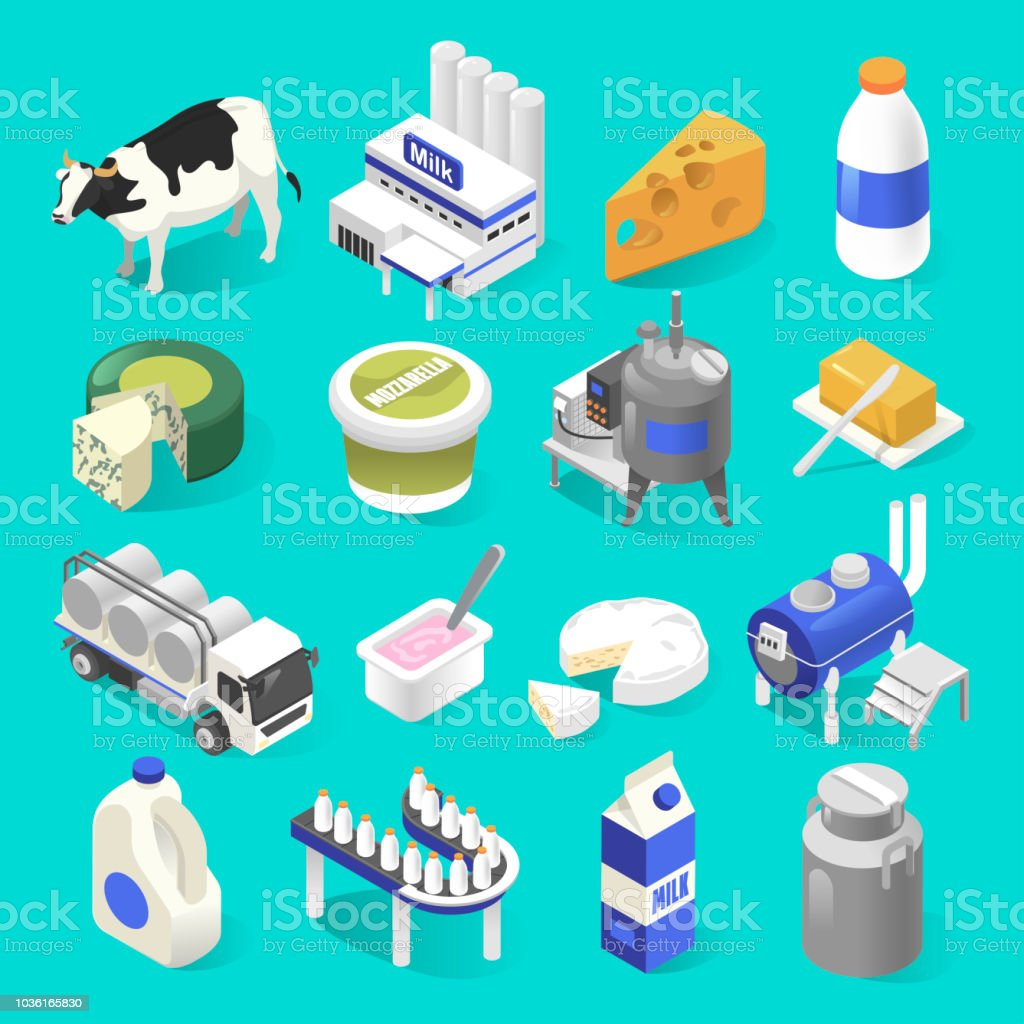Dairy products factory isometric set on blue vector art illustration