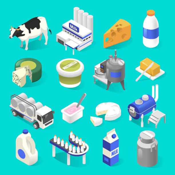 낙농 제품 공장 아이소메트릭 블루에 설정 - 유가공 식품 stock illustrations