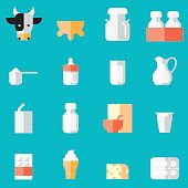 Dairy Products Flat Icons