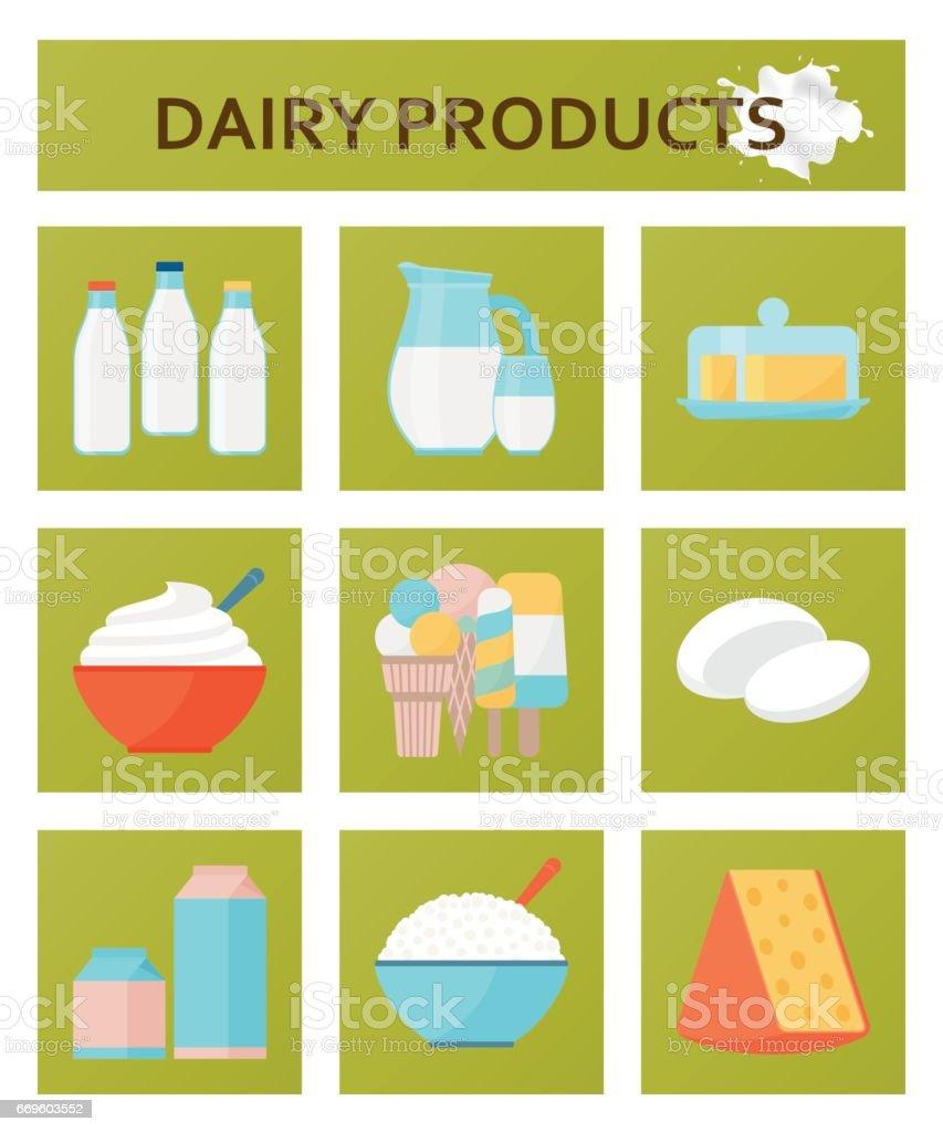 Dairy products flat set. Vector illustration vector art illustration
