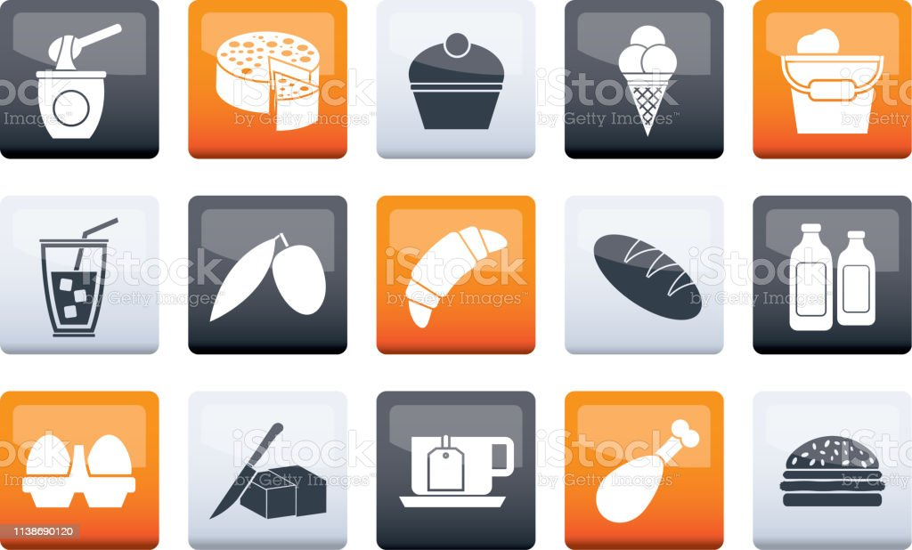Dairy Products - Food and Drink icons over color background - vector...