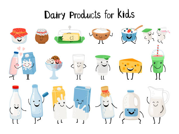 Dairy products for kids vector art illustration