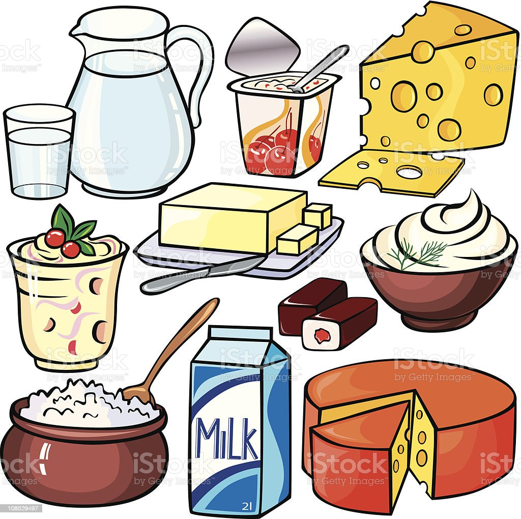 Dairy products icon set royalty-free stock vector art