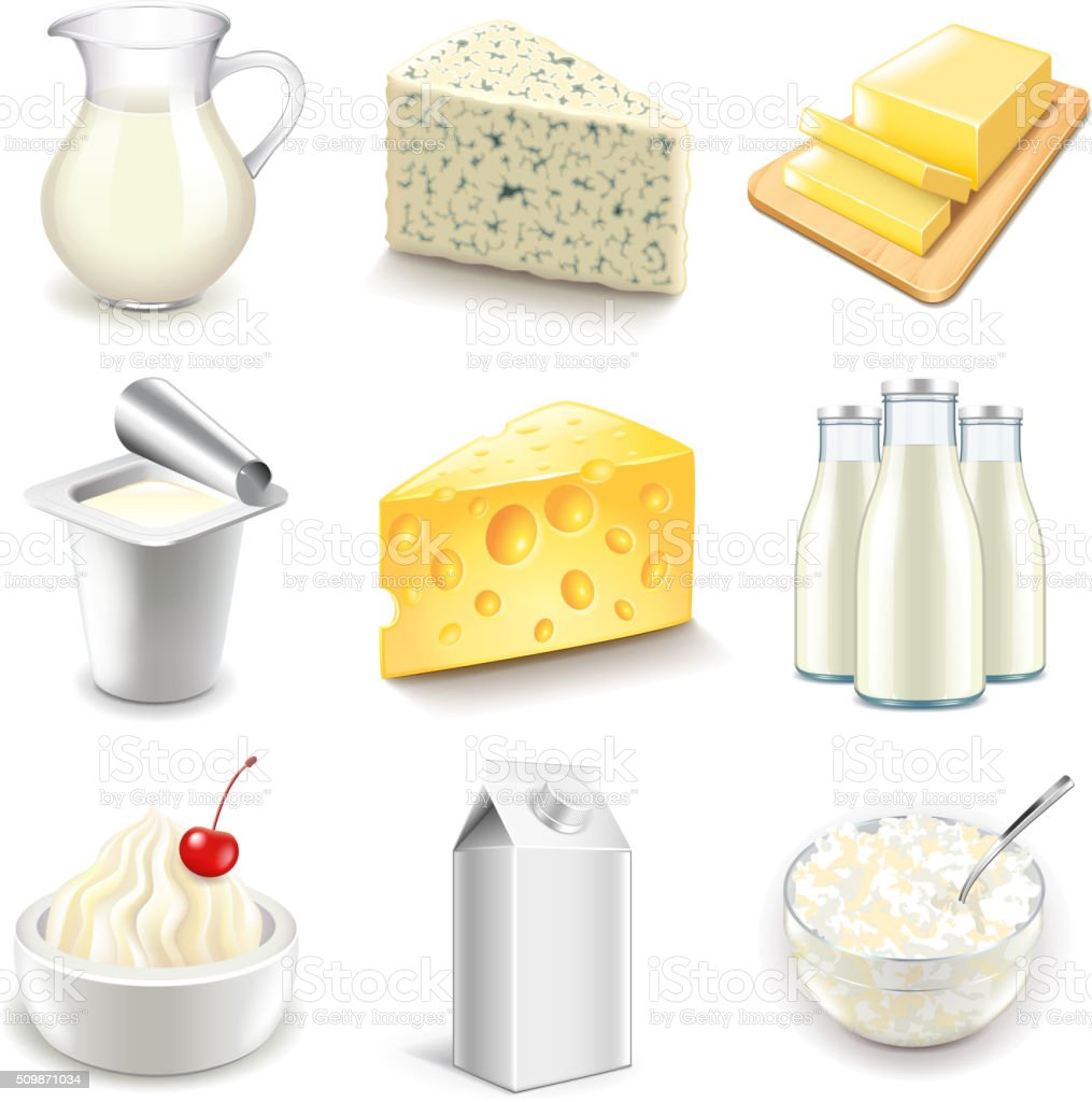 Dairy products icons vector set vector art illustration