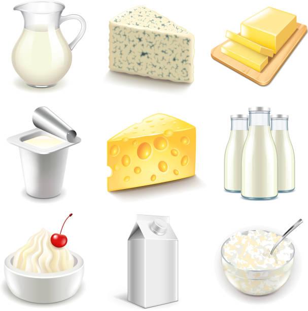 유제품 아이콘 벡터 설정 - 유가공 식품 stock illustrations