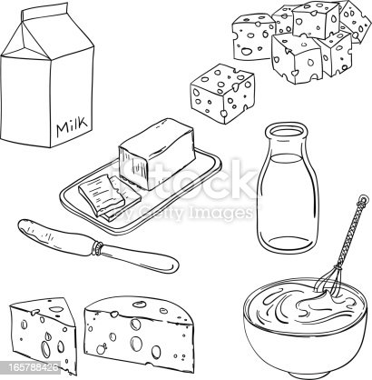 Dairy Products In Black And White Stock Vector Art & More