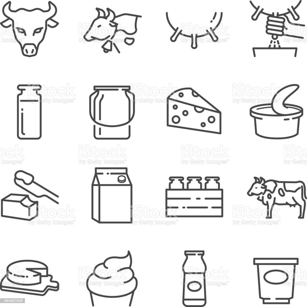 Dairy products line icons set - Векторная графика Без людей роялти-фри