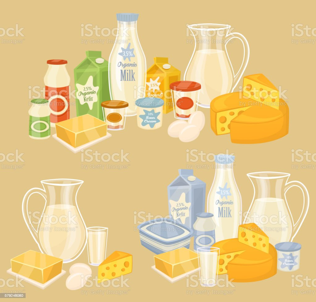 Dairy products on wooden table, milk, vector icon vector art illustration