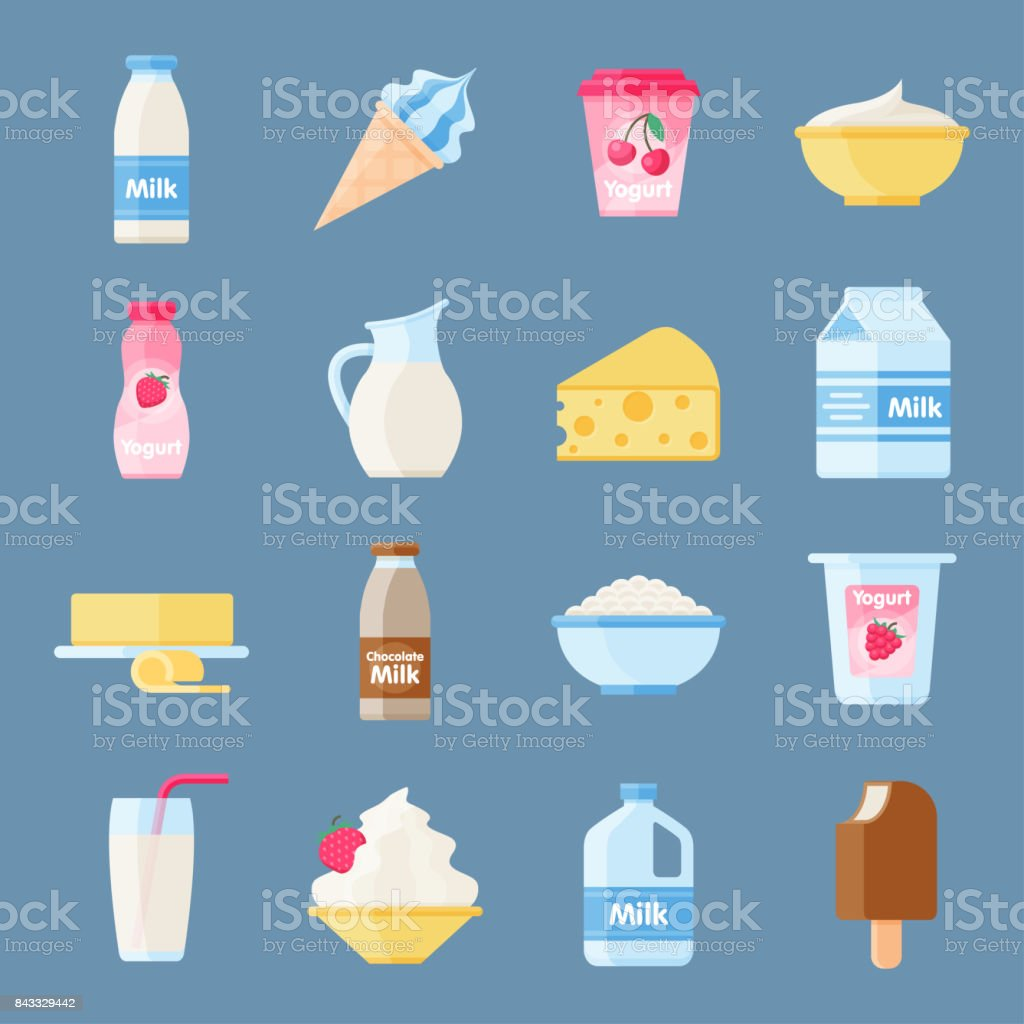 Dairy products or milk set vector art illustration