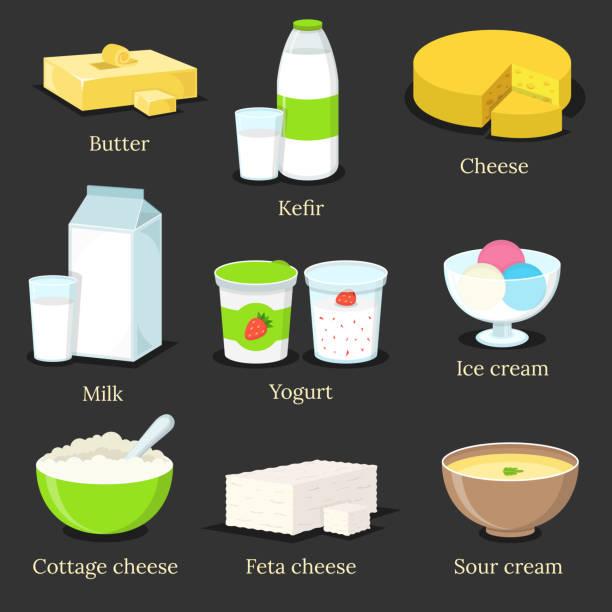 ilustraciones, imágenes clip art, dibujos animados e iconos de stock de conjunto de productos lácteos. mantequilla, kéfir, queso, leche, yogur de fresa, helado, queso cottage, queso feta y crema de sopa. ilustración vectorial plana. - kéfir
