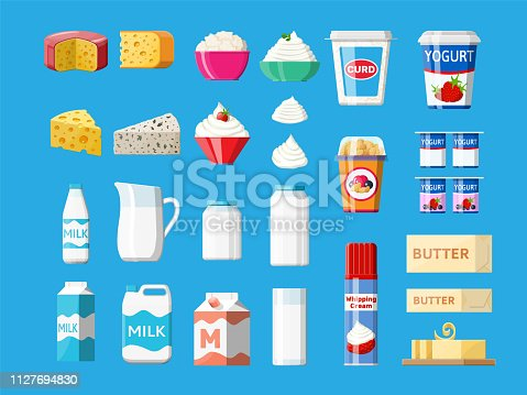 Dairy products set. Collection of milk food. Milk, cheese, yogurt, butter, sour cream, cottage, cream. Tradicional farm products. Vector illustration in flat style