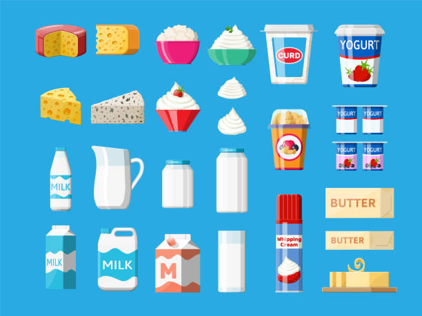 illustrazioni stock, clip art, cartoni animati e icone di tendenza di dairy products set. collection of milk food. - formaggio