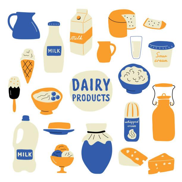 유제품 세트: 우유, 치즈, 버터, 사 워 크림, 아이스크림, 요구르트, 코 티 지 치즈, 휘 핑 크림. 재미 낙서 손으로 그린 벡터 일러스트입니다. 귀여운 만화 음식 컬렉션, 흰색 절연. - 유가공 식품 stock illustrations