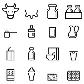 Dairy Products Thin Line Icons