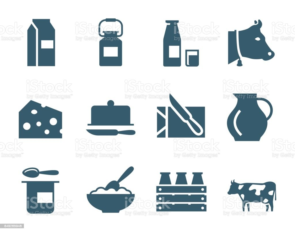 Dairy products vector icon set vector art illustration