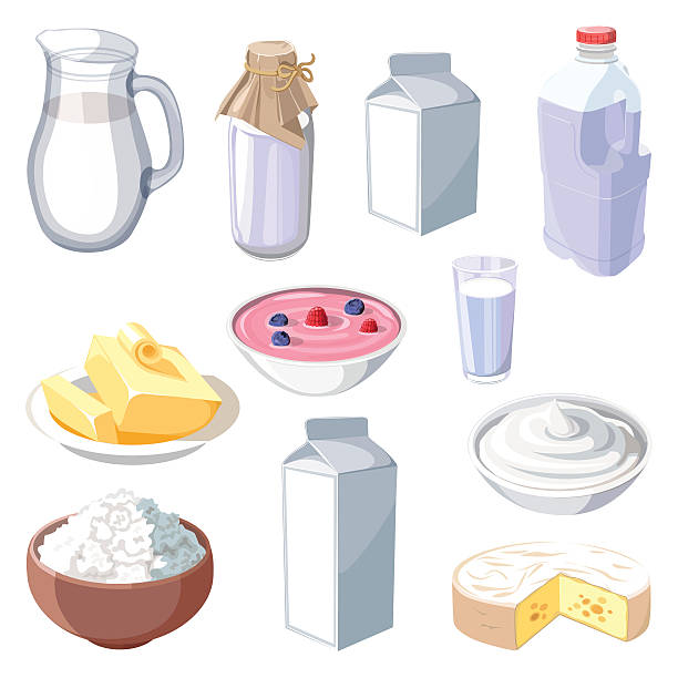 Dairy Products Vector Art Illustration