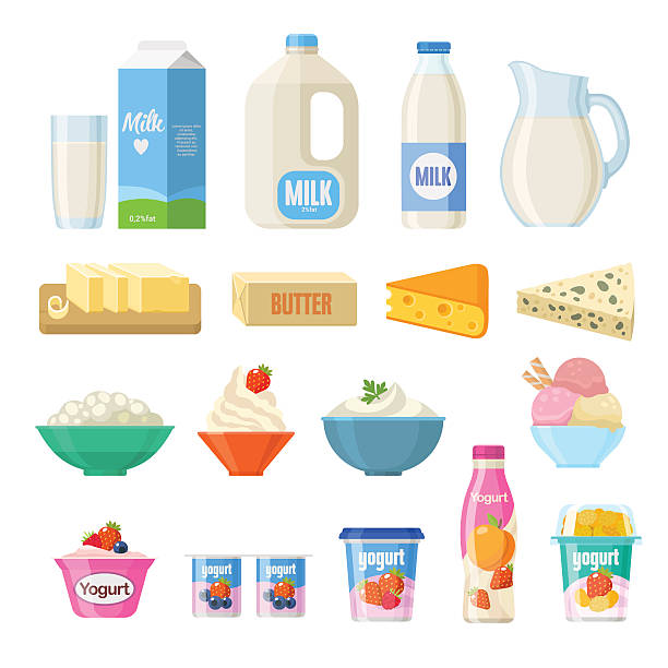 dairy milk cheese yogurt vector clip cream clipart flat butter cottage illustrations illustration meat ice vectors bread sour including collection