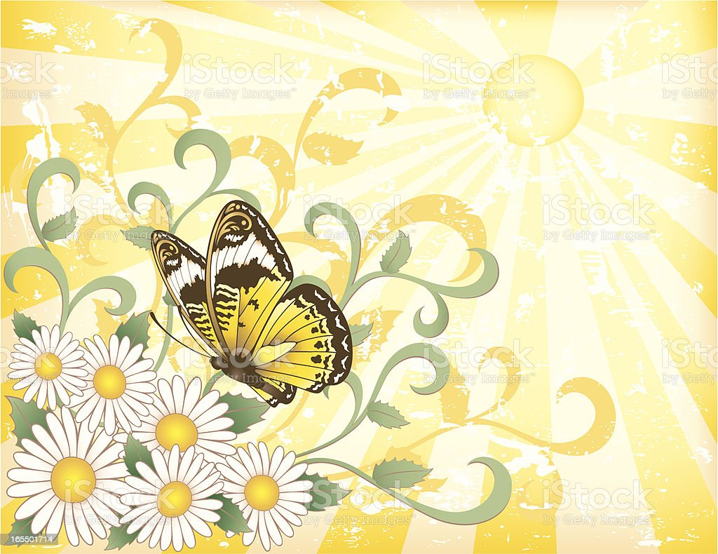 Daisies and Butterfly in the Sunshine royalty-free stock vector art