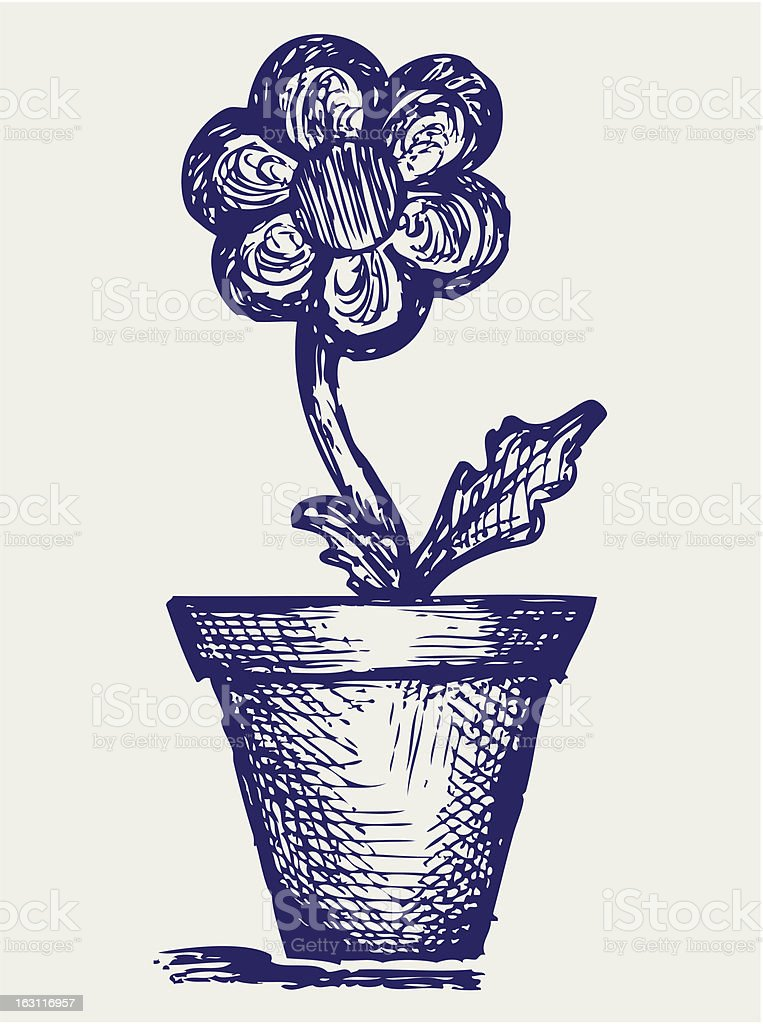 Daisies in pots royalty-free stock vector art