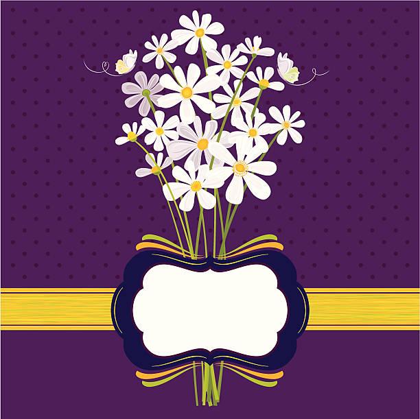 Daisies on Purple vector art illustration