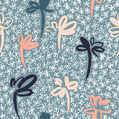 Daisies pattern. Floral seamless background. Doodle flowers. Outline sketch contour drawing. Simple botanical vector background.
