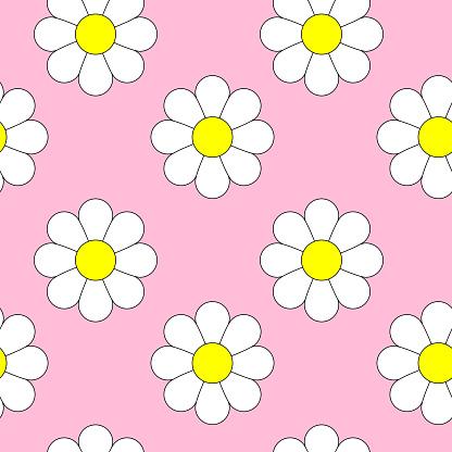 Daisies seamless pattern vector art.