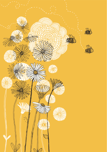 Daisies, sunflower and bees on sunny background