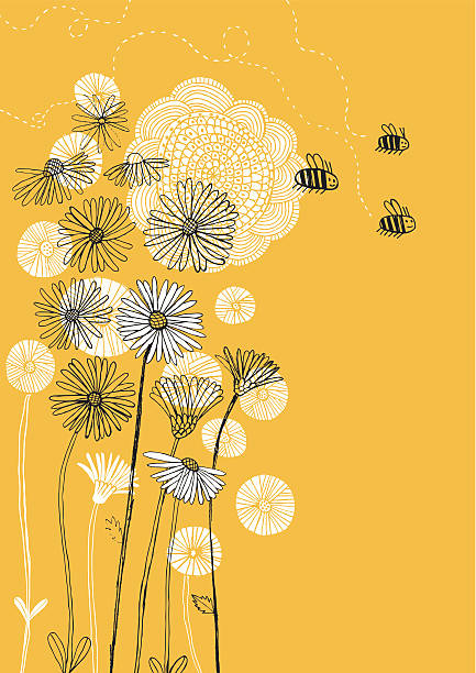 Daisies, sunflower and bees on sunny background Vector file of hand drawn flowers and insects daisy stock illustrations