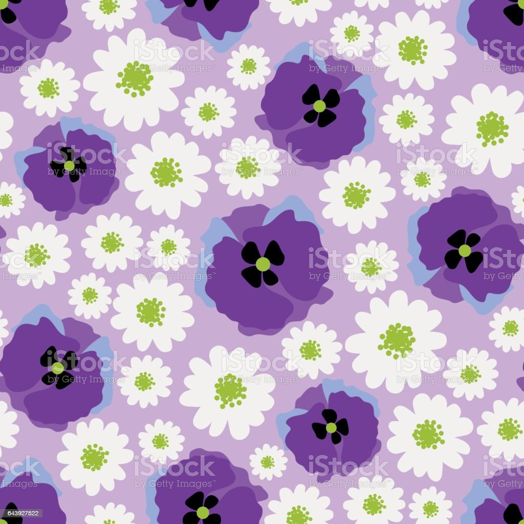 Daisy and poppy allover pattern vector art illustration