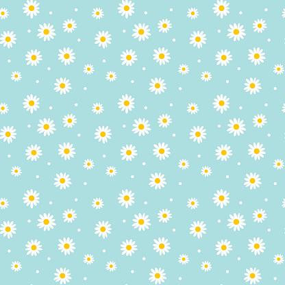 Daisy Cute Seamless Pattern Floral Retro Style Simple Motif Wh Stockvectorkunst en meer beelden van Abstract