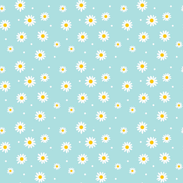 daisy cute seamless pattern. floral retro style simple motif. wh daisy cute seamless pattern. floral retro style simple motif. white flowers on color background fabric daisy stock illustrations