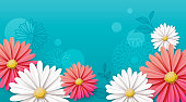 Illustration of paper flowers, daisies on blue, turquoise background.