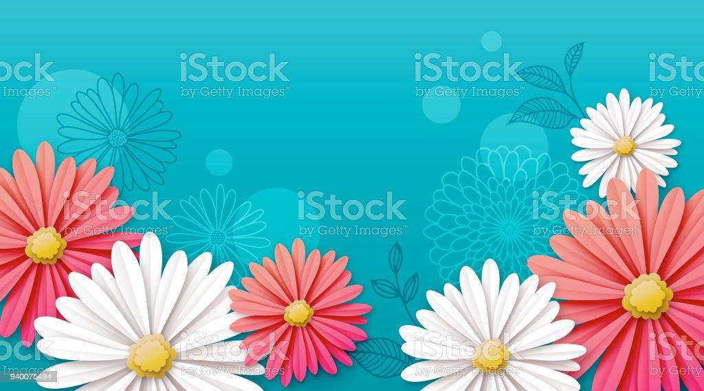 デイジーの花の背景 ベクターアートイラスト