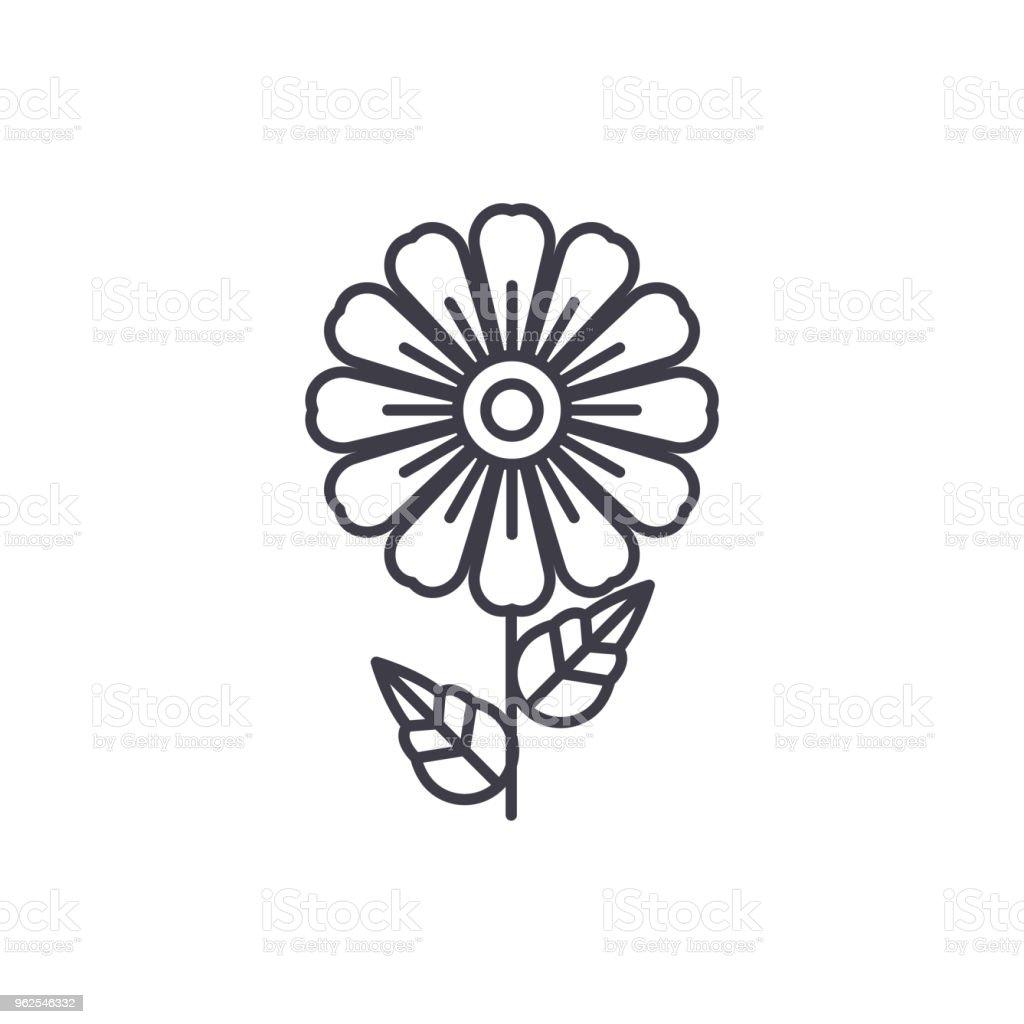 Conceito de ícone de linha Daisy. Margarida plana vector sinal, símbolo, ilustração. - Vetor de Amarelo royalty-free