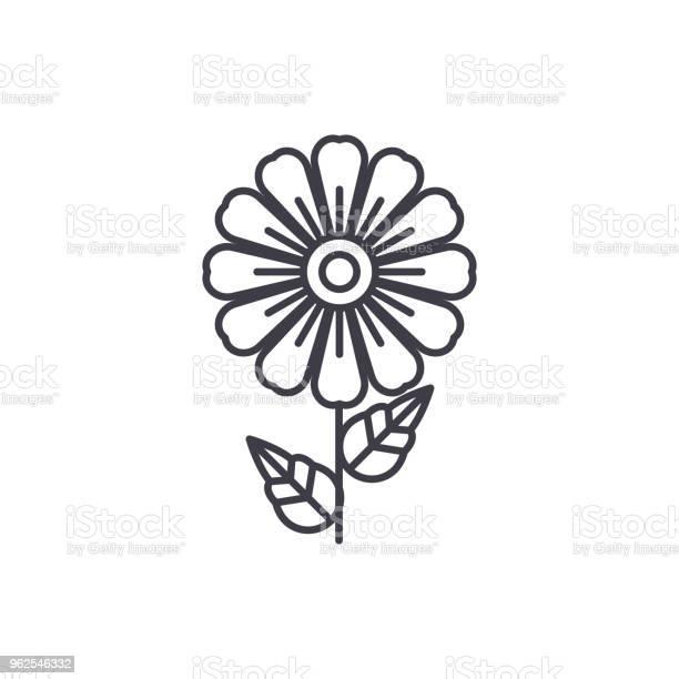 Vetores de Conceito De Ícone De Linha Daisy Margarida Plana Vector Sinal Símbolo Ilustração e mais imagens de Amarelo
