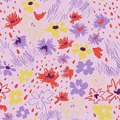 Flowers in doodle style. Seamless pattern made of daisies and abstract flowers. Outline drawings and silhouettes. Flat botanical background.