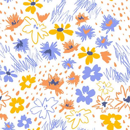 Daisy seamless pattern. Flat cartoon flowers in doodle style.
