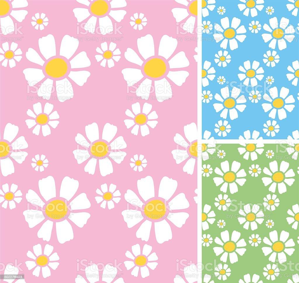 Daisy seamless pattern vector art illustration