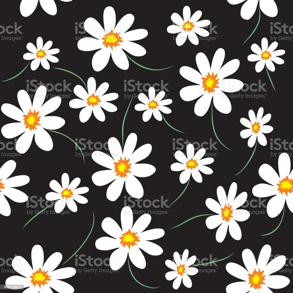 Daisy vector seamless pattern for fabric print wallpaper for Patterned material for sale