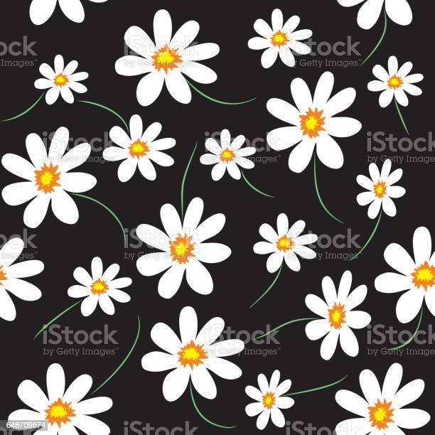 Daisy Vector Seamless Pattern For Fabric Print Wallpaper Wrapping Paper Design Stock Illustration - Download Image Now
