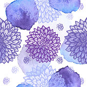 Dalhia Seamless Vector Pattern - Ink Drawing with Watercolor Texture