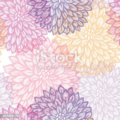istock Dalhia Seamless Vector Pattern - Ink Drawing with Watercolor Texture 933653178